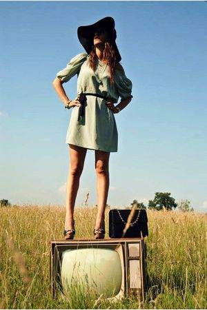 blue H&M dress - roberto della croce shoes - Bag Chanel accessories - H&M hat