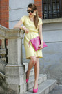 Light-yellow-pierre-cardin-dress-hot-pink-coccinelle-bag