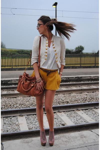 brown Miu Miu bag - beige Steve Madden shoes - yellow pretportobello jacket