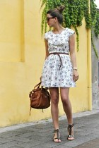 white Mango dress - tawny Miu Miu bag