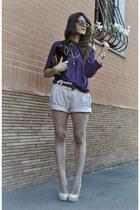 sarenzait shoes - purple Forever 21 blouse