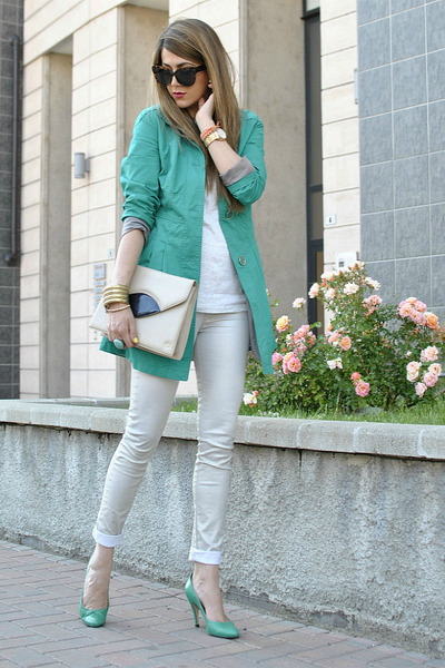 chartreuse silvian heach blazer - aquamarine sarenzait shoes