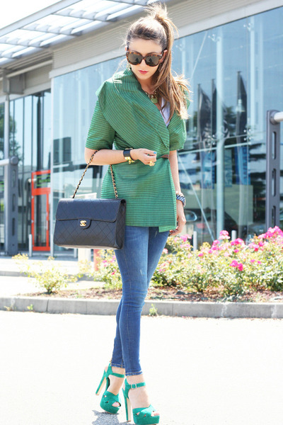 turquoise blue gianfranco ferre jacket - blue Zara jeans - black Chanel bag
