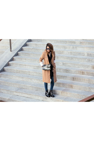 black Givenchy boots - nude H&M coat - dark green Valentino bag