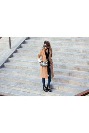 black Givenchy boots - nude H&M coat - dark green Valentino bag