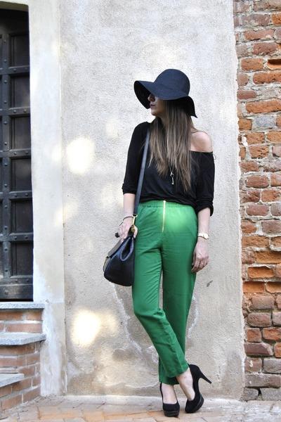 chartreuse Zara jeans - black asos t-shirt