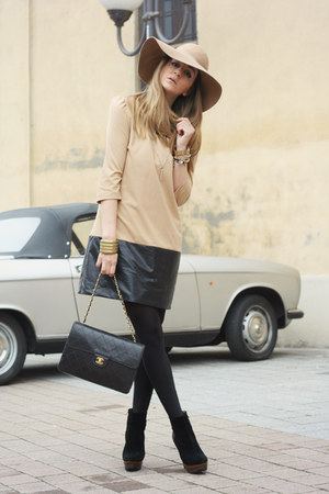 tan H&amp;M hat - nude Zara dress - black Chanel bag