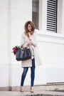 Beige-rinasciment-coat-navy-fornarina-jeans-black-yves-saint-laurent-bag
