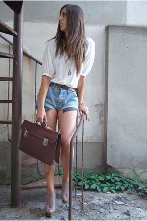 brown bag vintage bag - blue Leviss short shorts - beige Steve Madden Shoes shoe