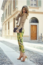 ruby red YSL bag - chartreuse Pinko pants