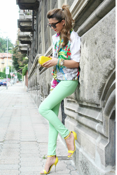 hot pink gianfranco ferree shirt - aquamarine romwe jeans - yellow H&amp;M bag