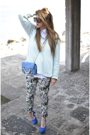 blue sarenzait shoes - blue Coccinelle bag - aquamarine Zara blouse