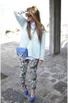 blue sarenzait shoes - blue Coccinelle bag - aquamarine Zara blouse