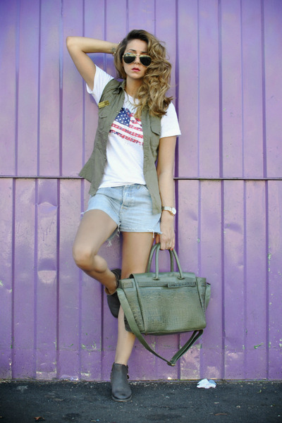 Sushi bag - romwe jacket - Levis shorts - Massimo Rebecchi t-shirt
