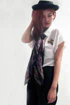 brown accessories - red scarf - black hat - white shirt - black pants
