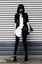 black blazer - gray THIS IS TRANSITION bag - dark brown thrifted vintage sunglas