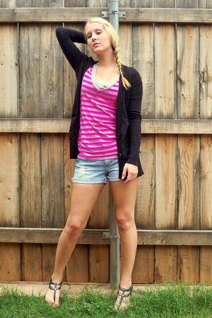 pink shirt - black cardigan - blue shorts - black shoes