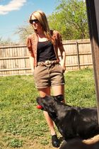black Vanity shirt - red vintage jacket - brown JCrew shorts - black Delicious s
