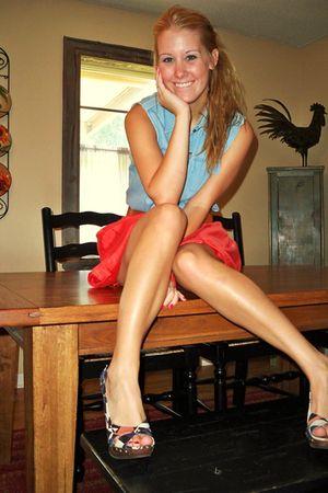 blue shirt - orange Forever 21 skirt - beige xhilaration shoes - brown Forever 2