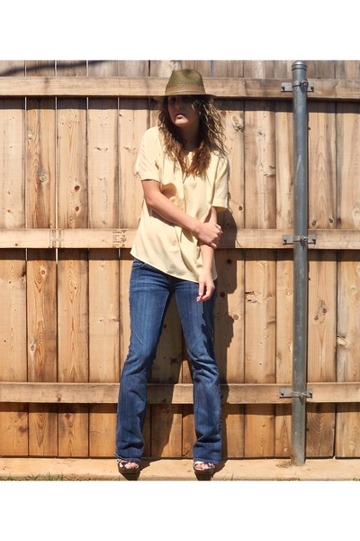 green JCrew hat - yellow thrifted shirt - blue American Eagle jeans - white xhil