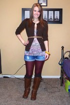 beige Wet Seal shirt - brown merona cardigan - blue Vanity shorts - red Forever