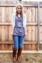 beige merona hat - white Vanity cardigan - gray Forever 21 top - silver Thrift S