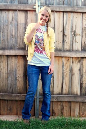 yellow merona cardigan - white t-shirt - blue American Eagle jeans - brown Sketc