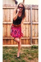 black Forever 21 dress - red Stoosh skirt - brown Forever 21 belt - black Delici