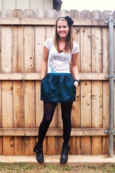 black Forever 21 accessories - white Forever 21 shirt - blue Forever 21 skirt -