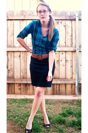 blue Vanity shirt - black New York and Co skirt - brown thrifted belt - black De