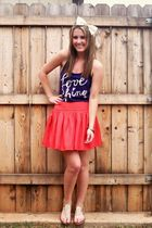 white Claires accessories - purple Old Navy shirt - orange Forever 21 skirt - go