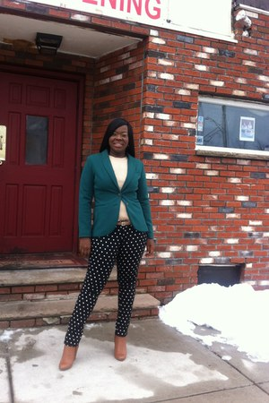 green H&M blazer - brown Forever 21 boots