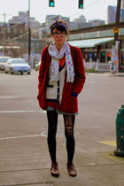red cardigan - black tights - beige cardigan - brown shoes - blue skirt