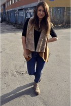 light brown H&M boots - pull&bear jeans - light brown blouse