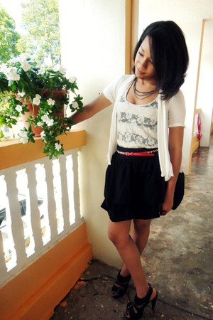 white Marshall sweater - black Forever 21 skirt - white lace papaya top