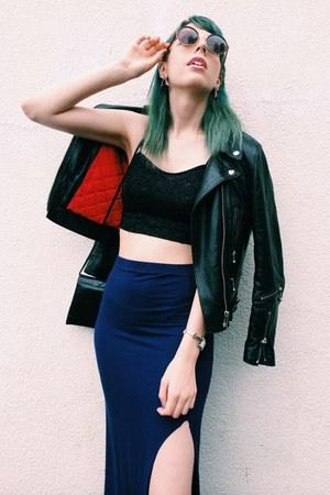 navy long skirt Topshop skirt - black biker leather jacket