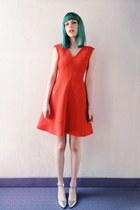 silver silver shiny Topshop shoes - carrot orange a line dress