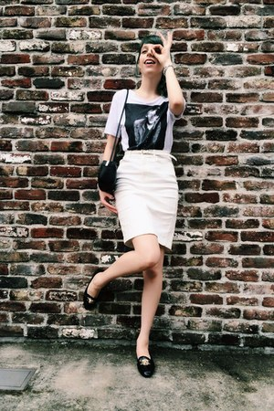 white Urban Outfitters t-shirt - white pencil skirt Topshop skirt