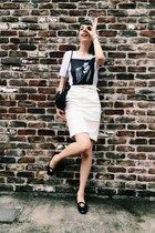 white Urban Outfitters t-shirt - white pencil skirt Topshop skirt