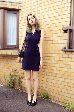 black loafer Topshop shoes - navy tennis dress dress - black leather bag H&M bag