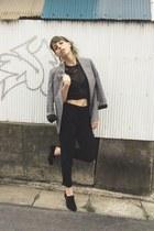 silver check Topshop blazer - black suede bootie boots