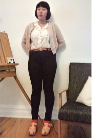 black Wrangler jeans - white Marks and Spencer shirt - red Uniqlo socks - peach