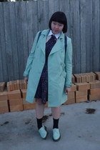 aquamarine Unknown Bran coat - aquamarine doc martens shoes - navy H&M dress