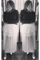 white selfmade skirt - black asos top - white Celine wedges
