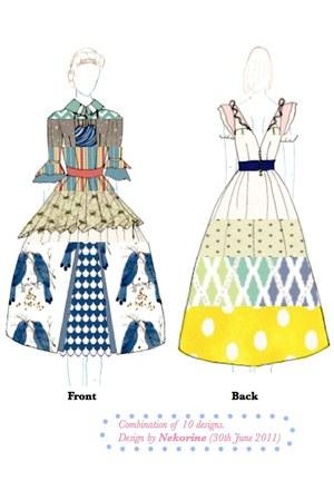 navy Nekorine dress - cream Nekorine skirt - turquoise blue Nekorine top - sky b