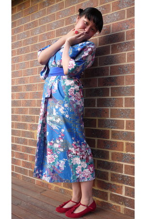 blue Yukata from Tokyo dress - ruby red I love Billy heels - red DIY ring - blue