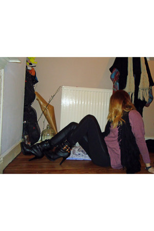 black Ebay boots - black asos jacket - puce Topshop top - black H&M pants