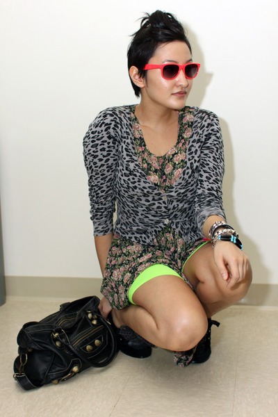 Rampage accessories - sweater - shorts - vintage dress - Betsey Johnson shoes
