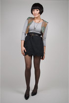 brown Anna Sui vest - silver handmade dress - gray neneee skirt - brown belt - g
