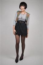 brown Anna Sui vest - silver handmade dress - gray neneee skirt - brown belt - g